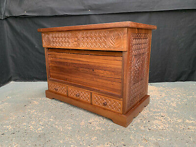 £300 • Buy EB1912 Tanzanian Carved African Rosewood Tambour Fronted Cabinet Secret Drawer