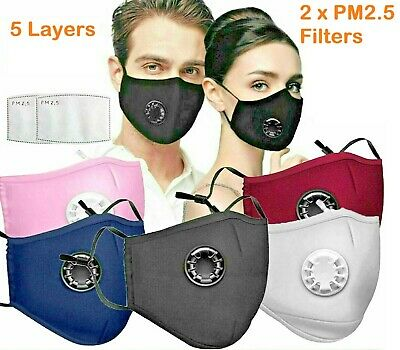 £3.49 • Buy Cotton Face Mask With Pocket Filter Air Valve Washable Reusable Respirator PM2.5