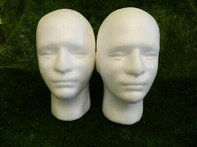 £7.99 • Buy 2x Mannequin Head Polystyrene Male Training For Wigs, Headphones , Hats (POLYM)