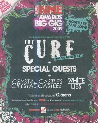 £11.99 • Buy (nmem9) Advert/poster 11x9  Big Gig 09 - The Cure - Crystal Castles - White Lies