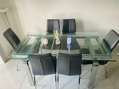 AU390 • Buy Extended Glass Dining Table With Leather Chairs