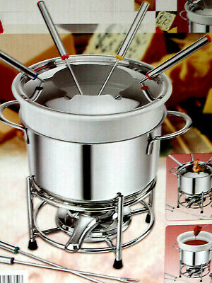 £18 • Buy Stainless Steel Cheese Chocolate Fondue Set Melting Pot With Forks & Fuel Burner