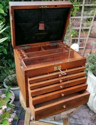 £275 • Buy Antique Mahogany Apothecary Dentists Cabinet Drawers With Key