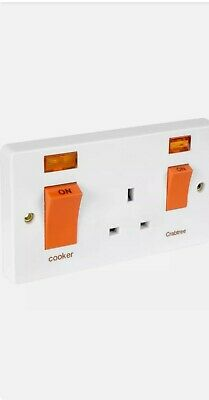 £18.99 • Buy Crabtree Cooker Switch With Socket 45A 13A Neon.