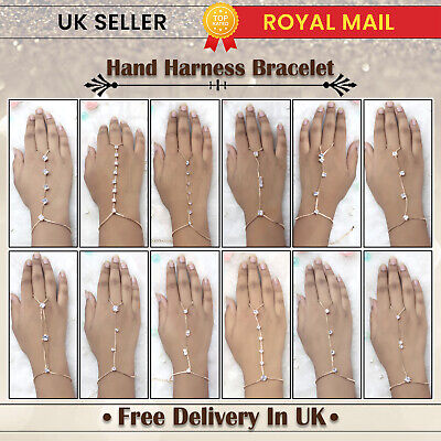 £2.99 • Buy Ladies Golden Rhinestone Hand Chain Bracelet With Ring Attached Hand Harness UK