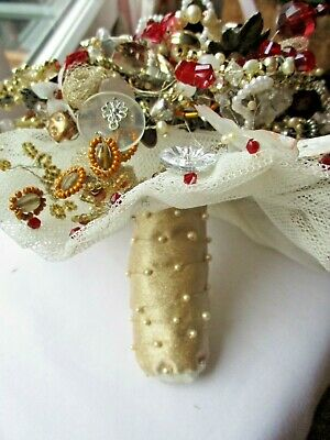 £34.95 • Buy Bridal Bouquet/Wedding Hand Crafted Unique Crystals/buttons/beads/wired/net