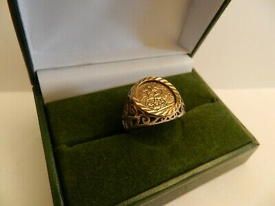 £25 • Buy GOLD PLATED 925 SILVER ST GEORGE PINKY RING - UK SIZE O -  16mm Face