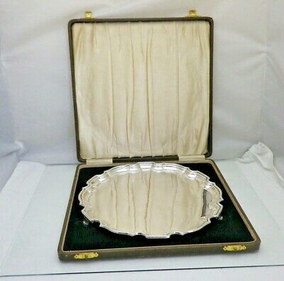 £495 • Buy Vintage Solid Silver Drinks Salver Tray Chippendale Border 25.5.cm (1953/9/OAS)