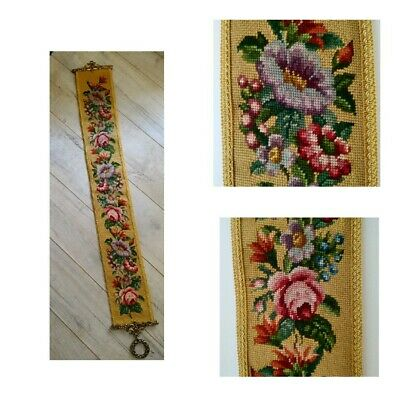 £24 • Buy Vintage Needlepoint Tapestry Wall Hanging Bell Pull Floral Roses Brass Fittings