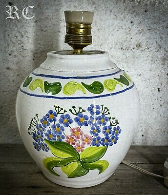 £25 • Buy Vintage Glazed Terracotta Stone Pottery Table Lamp Hand Painted Made In Portugal