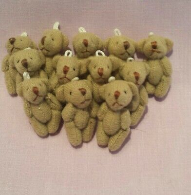 £11.99 • Buy 12 Miniature Handstitched Brown Teddy Bears Approx 3.5cms.perfect For Crafts...