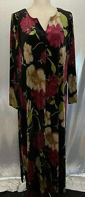 £14.54 • Buy Expressions Catalog Womens Sz M Floral Velour LS House Gown Lounger Dress