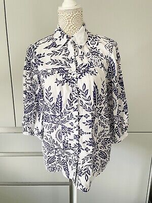 £19.99 • Buy Penny Plain Blouse Top Purple And White Size 12 3/4 Sleeve Collar 100% Cotton