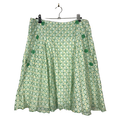 £14.99 • Buy River Island Women's Size 14 Green Floral Lined Knee Length Cotton Flare Skirt