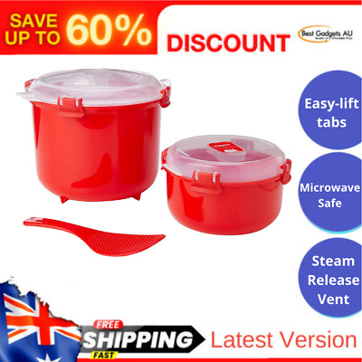 AU28.05 • Buy Microwave Rice Steamer Cooker 2 6L And Round Microsafe Food Container Set Red AU