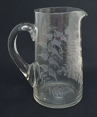 £35 • Buy Clear Etched Glass Vintage Victorian Antique Water Jug Pitcher
