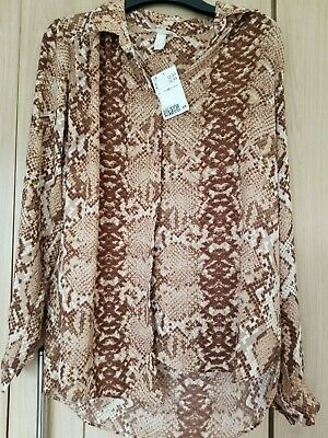 £1.40 • Buy Snakeskin Animal Pattern Autumn Shirt Size 10 H&M Brand New With Tags