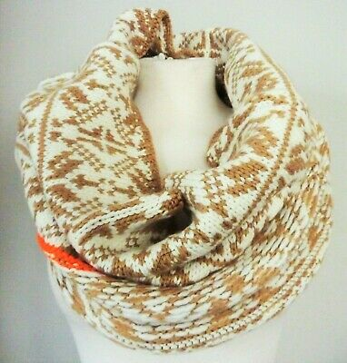 £11.99 • Buy GAP Womens Knitted Scarf Tube BEIGE Tribal Argyll Wool Knit Winter Neck Snood