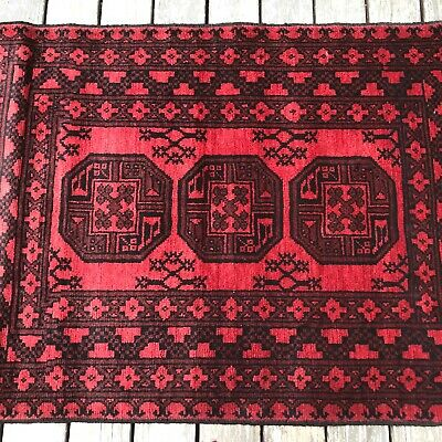 £163.67 • Buy Afghan Khal Mohammadi Accent Rug  Elephant Foot Patterns  Tribal Design Red 3x5