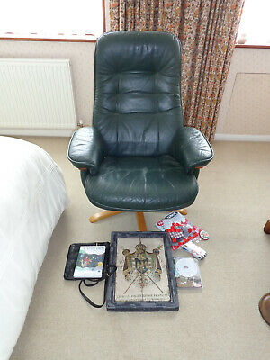 £25 • Buy Green Leather Swivel Recliner  Lounge Chair