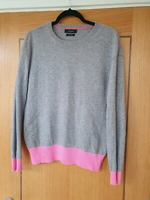 £14.99 • Buy M&S Autograph Grey And Pink 100% CASHMERE Jumper (size 10)