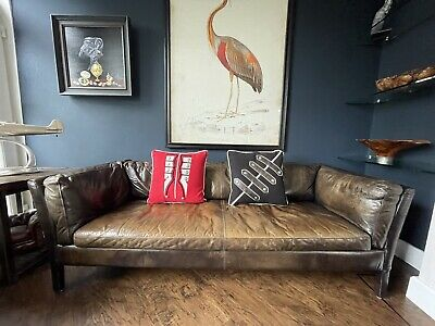 £750 • Buy John Lewis Groucho Large 3 Seater Leather Sofa, Riders Cocoa  - RRP: £2,099