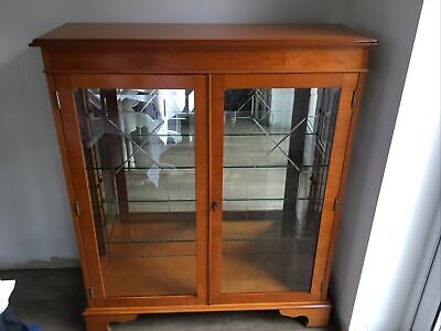£125 • Buy Display Cabinet Made Of Yew Wood With Glass Doors