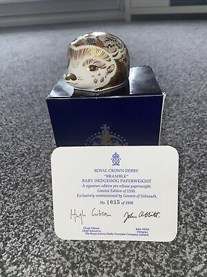 £55 • Buy Royal Crown Derby Paperweight Gold Stopper 'Bramble Hedgehog' With Box