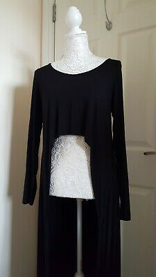 £24.99 • Buy Join Clothes Longline Black Slinky Top Crop Front Goth Witch Rock Chic One Size