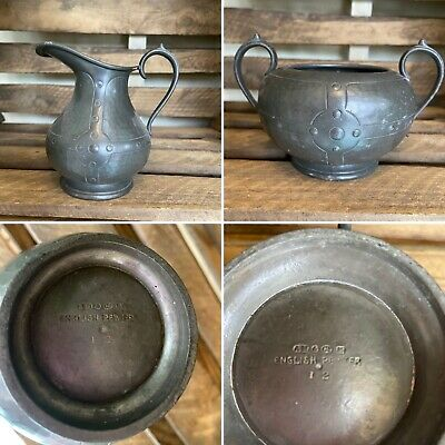 £10 • Buy Vintage English Pewter Jug And Bowl A M & Co Early 20th C