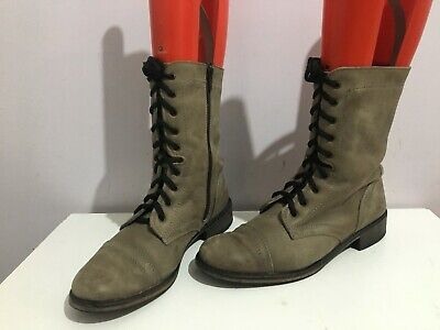 £14.99 • Buy Oggi Genuine Leather Grey Military Size 6/39 Womens Ladies Flat Boots Shoes(ip