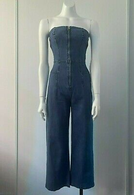 AU39 • Buy Finders Keepers 'Lola Pantsuit' Strapless Stretch Denim Jumpsuit Size S