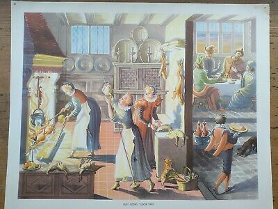 £5 • Buy Vintage History School Poster, Busy Cooks, Tudor Times