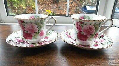 £22 • Buy Two Sets Of Vintage Harleigh Pink Cabbage Roses Bone China Tea Cups & Saucers