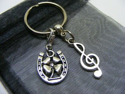 £3.95 • Buy Treble Clef & Lucky Clover Horseshoe Charm Keyring With Gift Bag (NC)