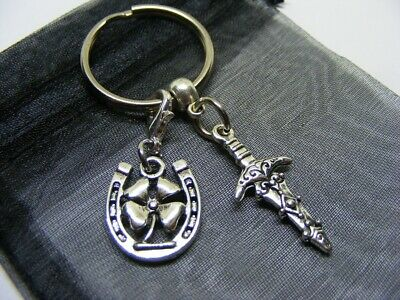 £3.95 • Buy Athame Dagger & Lucky Clover Horseshoe Charm Keyring With Gift Bag (NC)