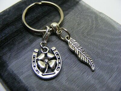 £3.95 • Buy Bird Feather & Lucky Clover Horseshoe Charm Keyring With Gift Bag (NC)