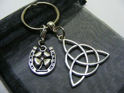 £3.95 • Buy Celtic Knot & Lucky Clover Horseshoe Charm Keyring With Gift Bag (NC)