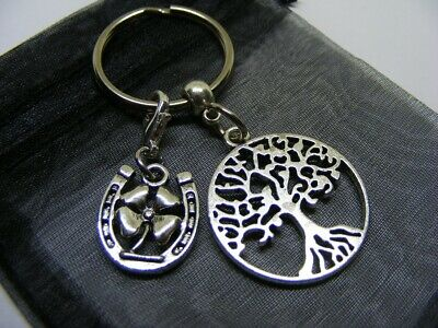 £3.95 • Buy Tree Of Life & Lucky Clover Horseshoe Charm Keyring With Gift Bag (NC)