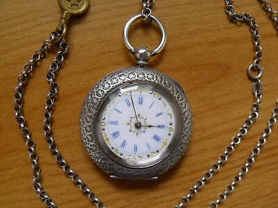 £79 • Buy SUPERB ANTIQUE SILVER LADIES FOB WATCH & CHAIN - GOOD WORKING ORDER (No.19978)