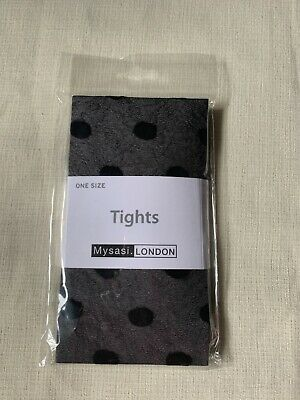 £0.99 • Buy Ladies Black Spot Patterned Tights Nylons Panty Hoes One Size