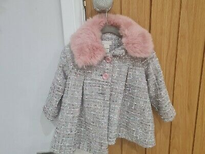 £15 • Buy Monsoon Girl Coat, Grey With Pink Faux Fur Collar. Age 12-18 Months
