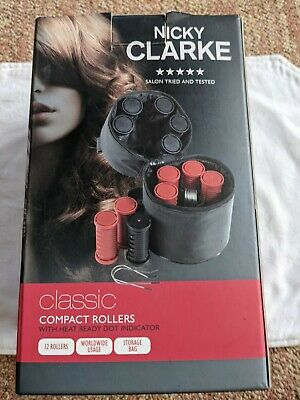 £25 • Buy NICKY CLARKE COMPACT TRAVEL HEATED HAIR & CLIPS ROLLERS CURER IMMACULATE Boxed