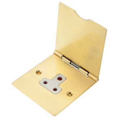 £19.99 • Buy 5A Single Gang Round 3 Pin Floor Socket Brass With White Insert Hamilton 82DUS5W