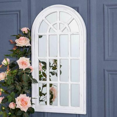 £8.50 • Buy White Arch Mirror Wall Mounted Metal Glass Ornate Vintage Home Chic Window Decor