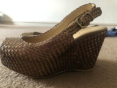 £9.99 • Buy Worn Once Stuart Weitzman For Russel & Bromley Bronze Leather Wedges Size 3.5