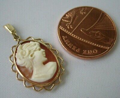 £3.99 • Buy A Beautiful 9ct Gold Mounted Small Shell Cameo Necklace Pendant, 1.4g