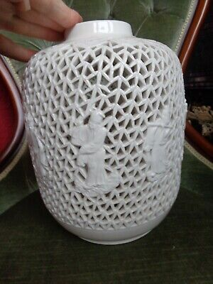 £49.99 • Buy ANTIQUE 19thc CHINESE BLANC DE CHINE RETICULATED CANDLE LANTERN / LAMPBASE