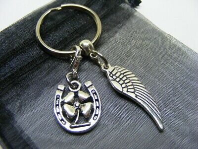 £3.95 • Buy Angel Wing & Lucky Clover Horseshoe Charm Keyring With Gift Bag (NC)