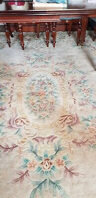 £15 • Buy Large CHINESE Mid Century Style Lined Rug Beige With Pattern 3.6 X 2.6M Approx